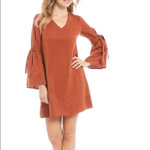 Cremieux Burt Orange Shift Dress w/ Bell Sleeves